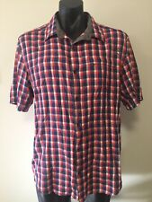 Vigilante Red Blue White Check Button Up Top Lightweight Outdoor Active Sz 2XL