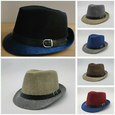 Mens Medium Two Tone Trilby Summer Straw Hat With Black Belt