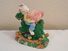 """Old Easter Decoration ~Figurine Of A Bunny & Pink Bird On A Rocking Horse ~ 4"""""""