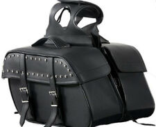 MEDIUM SIZE MOTORCYCLE PV LEATHER SLANTED STYLE SADDLEBAGS w/STUDS UNIVERSAL FIT