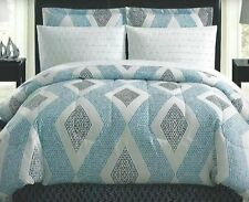 8 Pc Ellison Sonoma Bed-In-A-Bag ~ Blue & White Geometric ~ King 100x86 *New*