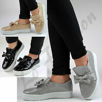 New Womens Flat Bow Sneakers Slip On Trainers Pumps Shoes Sizes