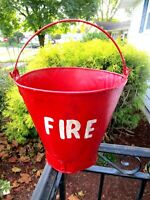 Antique Vintage FIRE DEPARTMENT Firefighter's RED WATER BUCKET PAIL Metal Rivets