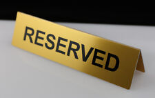 RESERVED TABLE DESK SIGN ALUMINIUM VINYIL LETTERS 195mm x 50mm GOLD SILVER