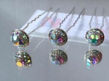 8 Crystal Diamante Wedding Bridal Prom Sparkly Hair Pins Grips Clips