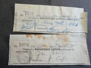 2 MALTA 1944/45 REGISTERED LETTER RECEIPTS