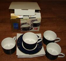 4 ~ SAKURA GALAXY  CUP & SAUCER SETS BLUE W/ 14K GOLD STARS NEW IN BOX