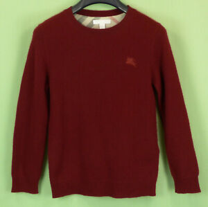 604 Burberry boys Cashemere long sleeve red pullover sweater nova check EUC 10Y