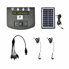 Solar Panel Lighting Kit, Solar Home System USB Charger with 2 bulb