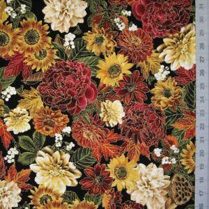 Fall Fabric - Large Metallic Harvest Floral Black - Timeless Treasures YARD