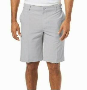 Izod X-Treme Function Flat Front Golf Shorts Silver Nickel Size 32