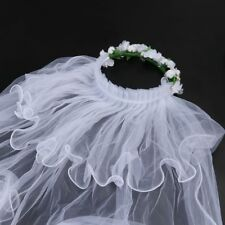 Wedding Veils For Kids Two Layers Soft Tulle Classic White Hair Wreath Accessory