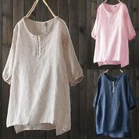 Women Loose Flax T-Shirt Blouse Tee Shirt Tops Solid Summer Casual Short Sleeve