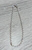 "Sterling Silver Curb Chain Bracelet Marked 925 MM 7"" Length Thin"