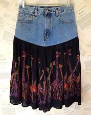 NEW Urban Outfitters Levi Recycled Giraffe Print Swingy Denim Midi Skirt M