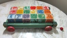 Antique child's pull toy wagon, wood blocks. Carved Nursery Rhymes