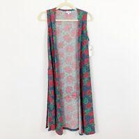 NEW Lula Roe Joy Duster Vest Size Extra Small XS Blue Floral Long Sleeveless