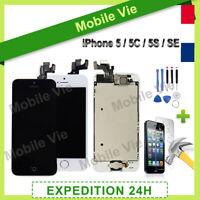 BLOC COMPLET ECRAN LCD + VITRE TACTILE IPHONE 5/5C/5S/SE NOIR OU BLANC + OUTILS
