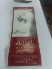 FIVE DAYS ONE SUMMER 14X36 ORIGINAL ROLLED MOVIE POSTER 1982 INSERT SEAN CONNERY