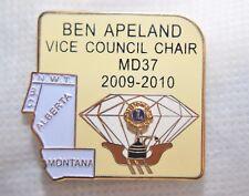 "MONTANA ALBERTA LIONS CLUB VICE COUNCIL CHAIR APELAND 1 3/8"" METAL LAPEL PIN"