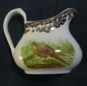 creamer or sauce pitcher Spode Woodland brown transferware Mallard duck~pheasant
