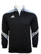 Adidas Full Mens Tracksuit Zip Jogging Top Bottoms 3 Stripe Black Size S - XXL