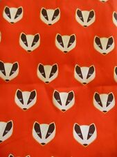 Remnant Poplin Fabric Material Red with White/Black Skunk Head - Half Meter