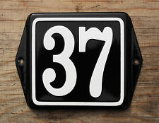 CLASSIC ENAMEL HOUSE NUMBER SIGN. WHITE No.37 ON A BLACK BACKGROUND. 10x10cm.