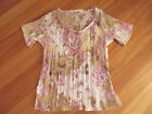 LADIES CUTE PURPLE SHEER FLORAL POLYESTER SHORT SLEEVE TOP BY FILO SIZE S 10/12