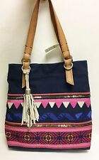 NEW FOSSIL JESSE NAVY BLUE+PINK RIBBON EMBELLISHED TOTE, SHOULDER HANDBAG, PURSE