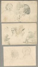 THREE Drawings by Russian artist M.D.Mikhailov WOMEN'S PORTRAITS AND FIGURES