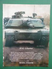 3/1988 PUB GENERAL DYNAMICS BLINDE CHAR M1A1 TANK PANZER ORIGINAL AD