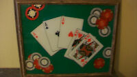 VINTAGE FRAMED ACES & QUEENS POKER ART! PERFECT FOR YOUR MAN CAVE