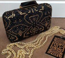 47576e55c2 BIBA BLACK & GOLD ART DECO LOGO EMBELLISHED BOX CLUTCH SHOULDER BAG