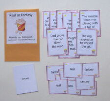 Teacher Made Literacy Center Learning Resource Game Real or Fantasy Match