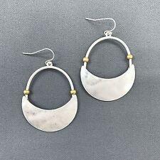 Unique Antique Silver Crescent Design Drop Dangle Designer Inspired Earrings
