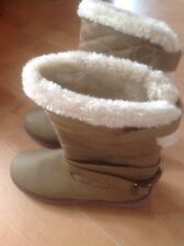 Beautiful Ladies/Girls Fur Lined Tan Boots, Size 4 New Shop Clearance