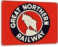 Great Northern Railway Railroad Train Station Metal Decor Sign
