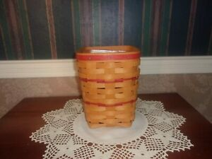 Longaberger 1996 Feature Medium Spoon Basket Set with Red Weave & KS Lanam Lid
