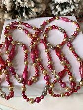 Lovely Vintage Mercury Glass Christmas Tree Garland ~ 100�Tubular & Indent Beads