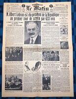 La Une Du Journal Le Matin 11 Mai 1932 Élection Albert Lebrun