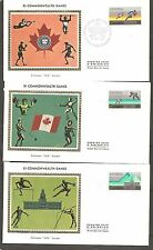 Canada SC # 760-761-762 XI Commonwealth Games FDC. Colorano Silk Cachet.