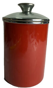 """Beautiful Kitchen Canister Red Enamel With Glass Lid 8.5"""""""