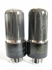 Pair 1950 Sylvania/Zenith 6V6GT tubes - TV7B tested @ 82, 84, min: 46