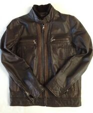 Zara Man Mens Medium Brwn Leather Moto Jacket, rarely used, great condition!