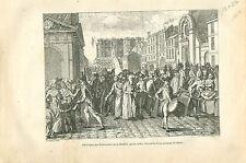 Délivrance des Prisonniers de la Bastille en 1789 GRAVURE ANTIQUE OLD PRINT 1873