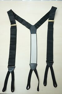 Ermenegildo Zegna Sateen Black 100% Silk Button Attachment Suspenders