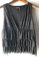 See You Monday Women's Black Lace Tiered Tank Top Small Sleeveless