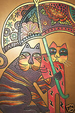 Laurel Burch Collectable Art Painting Hand Metallic Gold Cat Under Umbrella New