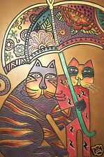 Laurel Burch Collectable Art Painting Hand Metallic Gold Cat Under Umbrella New